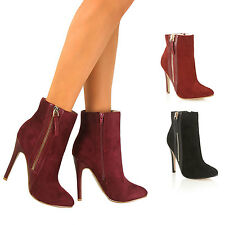 Womens Ladies Zip Up Stiletto High Heels Boots Ankle Calf Pointed Toe Size New
