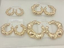 X and & O Heart Hugs and & Kisses Puffy Hoop XO Earrings 14k Yellow Gold Filled