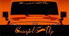 Cowgirl UP windshield banner decal sticker, choice of size & color