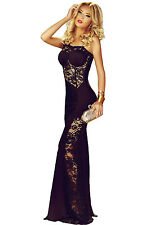 New sexy woman long sleeve Black Lace Insert One Shoulder Evening party Gown