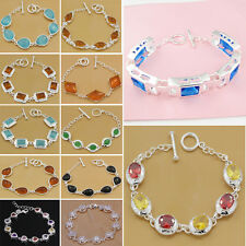 Fashion Lady Solid 925Sterling Silver Jewelry Silver Charm Top Bracelet Gift