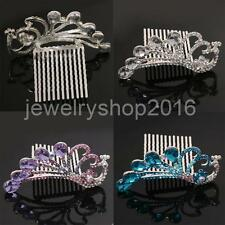 Bridal Wedding Girls Peacock Tiara Elegant Rhinestones Hair Clip Comb Headdress