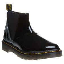 New Womens Dr. Martens Black Bianca Patent Leather Boots Ankle Elasticated
