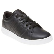New Boys K-Swiss Black Hoke Leather Trainers Court Lace Up