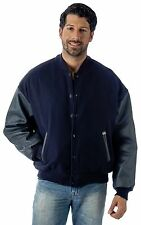 Premium Varsity Leather wool Jacket Made in USA Style 092 Navy Color by Reed