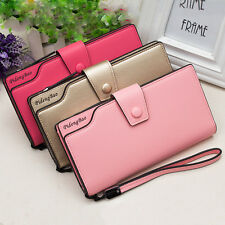 Women PU Leather Coin Purse Clutch Trifold Card Small Holder Lady Long Wallet