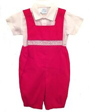 Boys Christmas Shortall & Shirt Set Red Smocked Willbeth Infant NWT 6m 24M