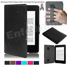 Folio Leather Hand Strap Magnetic Case Smart Cover for Amazon Kindle Protector
