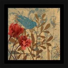 Bird & Botanical Silhouette Nature Painting Blue & Tan, Framed Canvas Art by Pie