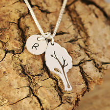 Sterling Silver Personalised Filigree Tree Of Life Pendant Necklace &Initial Tag