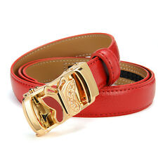 Women Belt Leather Wide Belt Waist Strap Rhinestone Butterfly Automatic Buckle