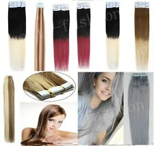 "Tape In Skin Weft 100% Remy Brazilian Human Hair Extensions Ombre Grey 16""24"""