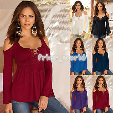 Sexy Womens Ladies Off Shoulder Pleated Draped Lace Up T-Shirt Casual Top Blouse