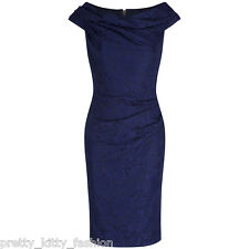 PRETTY KITTY 40s NAVY BLUE LACE WIGGLE BODYCON PENCIL VINTAGE COCKTAIL DRESS