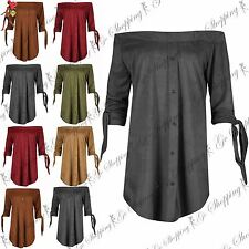 Ladies Womens Suede 3/4 Tie Sleeve Shirt Dress Off The Shoulder Party Bardot Top
