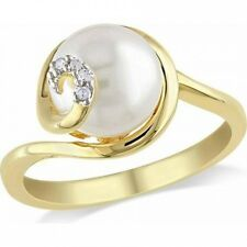 Miabella 9mm-9.5mm White Round Cultured Freshwater Pearl and Diamond Accent Yell