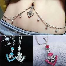 Crystal Tassel Waist Chain Dangle Navel Belly Button Ring Bar Piercing Jewelry