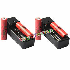 4x 3.7V 18650 GTL Li-ion 5300mAh Rechargeable Battery -LED Flashlight+2x Charger