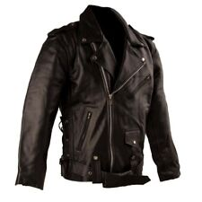 Mens Leather Motorcycle Jacket Brando Classic Biker Style Jacket S - 8XL
