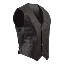 Leather Vest, Biker Vest, Antique Brass Hardware and Side Laces S-8XL