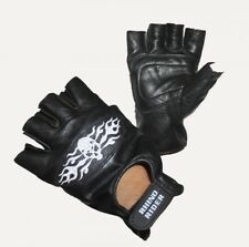 Motorcycle Leather gloves, Fingerless gloves with Skull Embroidery