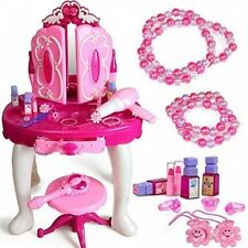 DURABLE New Girls Flower Toy Dressing Table Chair Glamour Mirror Playset +Music