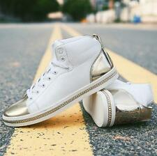 Fashion mens skate board lace up sneaker ankle boots flat hip hop dance shoes