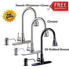 "18""/16"" Modern Kitchen Sink Pull Out Down Faucet Spray Swivel Spout Dispenser BP"