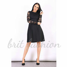 Womens Ladies Long Sleeve HIGH NECK LACE Floral Pleated SKATER Party DRESS Lot 8