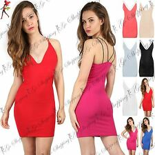Womens Strappy Cross Back Cami Plunge Ladies Bodycon Mini Dress Plus Size 8-22