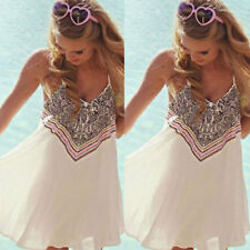 Sexy BOHO Womens Ladies Sleeveless Party Dress Womens Summer Beach Swing Dress