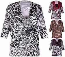 Womens Animal Floral Print Ladies Stretch Gather Cowl Neck Insert Top Plus Size