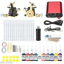 Pro Complete Tattoo Kit Machine Shader Gun Power Supply 20 Color Inks Needle