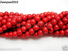 Red Howlite Turquoise Gemstone Round Beads 16'' Strand 4mm 6mm 8mm 10mm 12mm