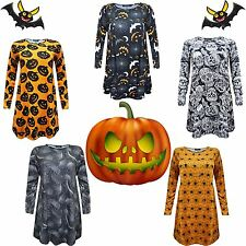 Ladies Halloween Orange Black Swing Dress Spider Web Pumpkin Bats Skull Print