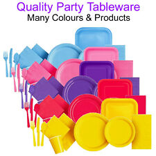 Tableware Party Paper Plates Napkins Cutlery Cups Plastic Disposable Cafe Pub