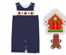 Boys Overalls Blue Smocked Gingerbread Houses Holiday Connies Kids NWT