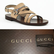 36 37 39 NEW $595 GUCCI Tan SUEDE LEATHER Horsebit Flat Gladiator Cage SANDALS