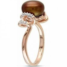 9-9.5mm Chocolate Cultured Freshwater Pearl and Diamond-Accent Pink Rhodium-Plat