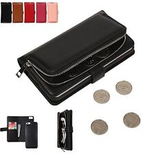 Detachable Zipper Wallet Flip PU Leather purse Case For iphone 6 6s / 6s plus