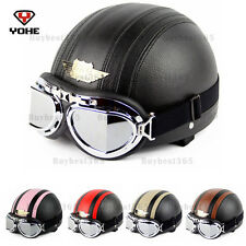 YOHE Motorcycle Scooter Open Face Leather Half Helmet Vintage Goggles DOT ECE