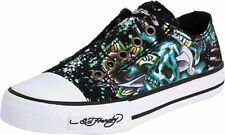 Ed Hardy Kid's Authentic Lowrise 100 Fashion Slip on Black/Gold Sneaker Shoes