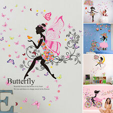 Flower Girl Removable Wall Art Sticker PVC Decal Kid Sweet Room Home Mural Decor