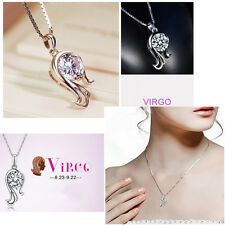 Delicate Fashion 925 Silver 12 Constellations Zodiac Crystal Pendant  Necklace