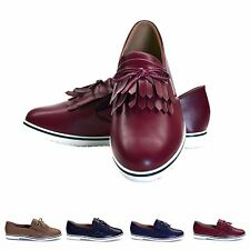 Womens Ladies Low Heel Flat Tassel Patent Shoes Office Loafer Size 3,4,5,6 & 7