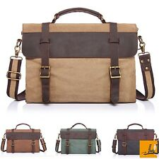 Vintage Canvas Leather Messenger Traveling Briefcase Shoulder Laptop School Bag