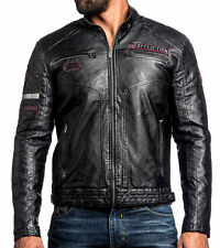 Affliction Black Premium - RECKLESSNESS - PU Leather Men's Biker Jacket - Moto