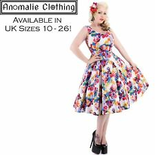 Hearts and Roses Georgina Floral Swing Dress - 1950s Vintage Inspired Rockabilly