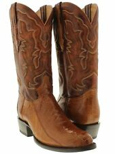 mens cognac rust brown genuine ostrich leg western leather smooth cowboy boots