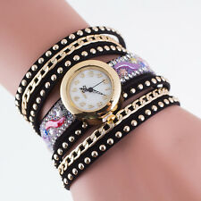 Gift Fashion Color Rhinestone Ladies Watch Leather Watch Bracelet Watch